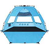 KOON Beach Tent Sun Shelter Pop Up XL - Easy Setup Beach Shade for 3-4 Person with UPF 50+ Protection, Extended Floor & 3 Ventilation Windows丨Carrying Bag (Ocean Blue) (Ocean Blue) (Ocean Blue)