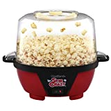 West Bend 82505 Stir Crazy Electric Hot Oil Popcorn Popper Machine Offers Large Lid for Serving Bowl and Convenient Storage, 6-Quart, Red