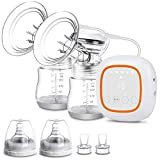 Electric Breast Pump, Double Breast Pump, Portable Dual Suction Nursing Breastfeeding Pump with LED Display Touch Screen, Ultra-Quiet Rechargeable Milk Pump for Travel&Home BPA Free FDA Certified