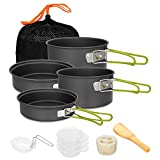 Gutsdoor Camping Cookware Set 4 Person Camping Gear Campfire Utensils Non-Stick Cooking Equipment Lightweight Stackable Pot Pan Bowls with Storage Bag for Outdoor Hiking (10 Piece/Set)