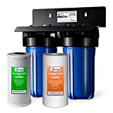 iSpring WGB21B 2-Stage Whole House Water Filtration System with 10' x 4.5' Sediment CTO(Chlorine, Taste, and Odor) Filter, 1' Inlet/Outlet