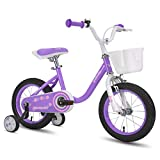 cycmoto 14' Kids Bike with Basket, Hand Brake & Training Wheels for 3 4 5 Years Girls, Toddler Bicycle Purple