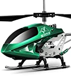 Remote Control Helicopter, S107H-E Aircraft with Altitude Hold, One Key take Off/Landing, 3.5 Channel, Gyro Stabilizer and High &Low Speed, LED Light for Indoor to Fly for Kids and Beginners(Green)