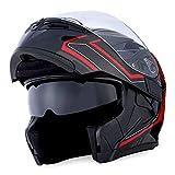 1Storm Motorcycle Modular Full Face Helmet Flip up Dual Visor Sun Shield: HB89 Arrow Red