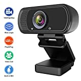 Webcam 1080P, Live Streaming Computer Web Camera with Stereo Microphone, Desktop or Laptop USB Webcam with110-Degree View Angle, Webcam for Video Calling Recording