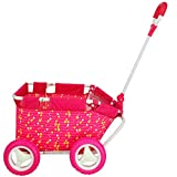CUBY My First Kid Toy Folding Wagon Baby Pull Along Cart Doll Stroller with Adjustable Handle and Rubber Wheels Pink, Children's Day Gift for Girl