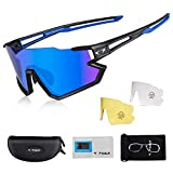AALK Polarized Cycling Glasses with 3 Interchangeable Lenses for Men Women MTB Goggles Sport Sunglasses Shades