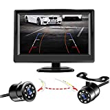 Niloghap Universal IP69K Waterproof Rear View Camera with 5 Inch Monitor License Plate Camera, IR Night Vision with Dynamic Trajectory Guide Line Reverse Camera for Car Pickup Truck SUV RV Van