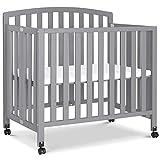 DaVinci Dylan Folding Portable 3-in-1 Mini Crib and Twin Bed in Grey | Greenguard Gold Certified