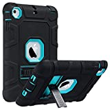 ULAK iPad Mini Case, iPad Mini 2 Case, iPad Mini 3 Case, iPad mini Retina Case, Three Layer Heavy Duty Shockproof Protective Case for iPad Mini,iPad Mini 2,iPad Mini 3 with Kickstand (Aqua Blue/Black)