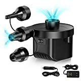 ElectricAirPump,KarviparkPortableQuick-FillUniversalPumpwith 3Nozzles,Inflator DeflatorPump 110V AC/12V DC forAir Mattress Bed, Boats, Outdoor Inflatable Pool Toys, Swimming Ring