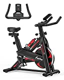 Exercise Bike - Indoor Cycling Bike for Home Gym with Comfortable Seat Cushion,Tablet Holder and LCD Monitor,Silent Belt Drive, Flywheel Smooth Quiet.