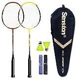 Senston - 2 Player Badminton Racket Set - Including 1 Badminton Bag/2 Rackets/2 Badminton /2 Grip