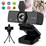 Burxoe Webcam, 1080P Hd Web Camera with Microphone for Desktop Computer Laptop, Pc Streaming USB Camera 110-Degree Wide Angle with Privacy Cover Tripod for Study, Conference, Video Calling