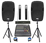 Complete Professional 2000 Watts PA System 6 Ch Mixer 10' Speakers Dual Wireless Mics Stand