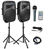 Knox Dual 15' Speakers, 600 Watt - 8 Piece Portable PA System - Microphone, Tripods, Remote Control - Bluetooth, USB, SD Card, RCA and 1/4' Inputs - Colorful LED Lights