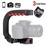 ULANZI U-Grip Pro Handheld Video Rig Steadicam with Triple Cold Shoe, Stabilizing Handle Grip Compatible for iPhone 11 Pro Max Xs 8 7 plus GoPro 8 7 6 5 Canon Nikon Sony DSLR Cameras