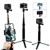 AFAITH Upgraded Pole for GoPro, Aluminum Alloy GoPro Selfie Stick with Stable Tripod Waterproof Handheld Monopod for GoPro Hero 8 Black/Hero 9 Black/7/6/5/4/ Osmo Action Camera/Xiao Yi Action Camera