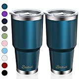 2 Pack 30oz Vacuum Insulated Tumblers, Bastwe Double Wall Stainless Steel Travel Mug with Lid and Straw for Home, Office, School, Works Great for Ice Drink, Hot Beverage (Blue Green)