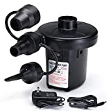 Electric Air Pump - Air Mattress Pump for Inflatables - Portable Quick and Easy Inflator Deflator with 3 Nozzles for Inflatable Beds, Boats, Toys, Pools, Rafts, Swimming Rings (AC 110-120V, DC 12V)