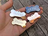 Jinglrr Personalized Stainless Steel Dog Tags Cat Tags (Gold, Bone)