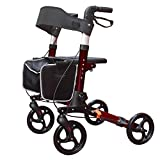 KarePro Lightweight Compact Designed Folding Rollator Walker with 8 inches Wheels Wide Seat Thick Backrest and Adjustable Handle Height, Red