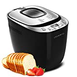 CROWNFUL Automatic Bread Machine, 2LB Programmable Bread Maker with Nonstick Pan and 12 Presets, 1 Hour Keep Warm Set , 2 Loaf Sizes, 3 Crust Colors, Recipe Booklet Included, ETL Listed (Black)