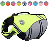 Vivaglory New Sports Style Ripstop Dog Life Jacket with Superior Buoyancy & Rescue Handle, Bright Yellow, M