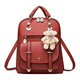 HYSGM Women Pu Leather Shoulder Bag for Girls New Fashion Backpack Student Casual Solid Handbag (Wine)