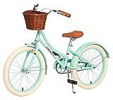ACEGER Girls Bike with Basket, Kids Bike for 6-9 Years, 14 inch with Training Wheels, 16 inch with Training Wheels and Kickstand, 20 inch with Kickstand.(Spring Green3, 20 inch)