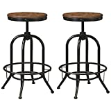 Signature Design by Ashley Pinnadel Industrial Adjustable Height Swivel Barstool, 2 Count, Brown
