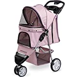 Paws & Pals Dog Stroller - Pet Strollers for Small Medium Dogs & Cats - 3 Wheeler Elite Jogger - Carriages Best for Cat & Large Puppy - Rose Wine
