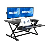 FLEXISPOT Height Adjustable Standing Desk Converter | 35 inch Stand Up Desk Riser, Black Home Office Desk Workstation for Dual Monitors and Laptop (M8MB)