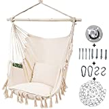 Kanchimi Hanging Chair-Max 330 Lbs.Large Hammock Chair with Detachable Metal Support Bar& Side Pocket.Hanging Rope Swing for Patio Bedroom or Tree- 2 Removable Seat Cushions Included(White)