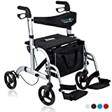 Health Line Massage Products 2 in 1 Rollator-Transport Chair w/Paded Seatrest, Reversible Backrest and Detachable Footrests, Silver White