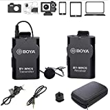 BOYA BY-WM2G Wireless Lavalier Microphone System Compatible with iPhoneX 8 8 Plus 7 6 Smartphone,Canon 6D 600D Nikon D800 D3300 Sony A7 A9 DSLR GoPro Hero4 Hero3 Hero3+ Action Cameras