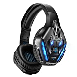 PHOINIKAS Wired Gaming Headset for PS4, PC, PS5, Xbox one Headset with Noise Cancelling Detachable Mic, Wireless Over Ear Headphones for Phone(Bluetooth Not Compatible with Gaming Devices), Up to 40h