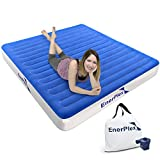 EnerPlex Never-Leak Camping Series Queen Camping Airbed with High Speed Pump Luxury Queen Size Air Mattress Single High Inflatable Blow Up Bed for Home Camping Travel 2-Year Warranty – Blue/White