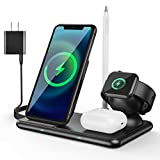 4 in 1 Wireless Charging Station for Apple Products, Apple Watch Charger with Qi-Certified 15W Charging Dock for Multiple Devices, Phone Charging Station Compatible with Apple Watch& Airpod & Pencil