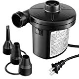 FiveJoy Electric Air Pump, Quick-Fill AC Inflator Deflator with 3 Nozzles, 120 Volt Portable Air Mattress Pump for Outdoor Camping, Inflatable Couch, Pool Floats, Boats, Swimming Ring (AC Pump (140W))