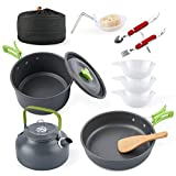 eatcamp Camping Cookware Camp Cookware Set with Kettle Compact Camping Aluminum Cookware Set 12 Pcs Backpacking for Outdoor Camping Backpacking Hiking Picnic (Green)
