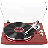 1 BY ONE Belt Drive Turntable with Bluetooth Connectivity, Built-in Phono Pre-amp, USB Digital Output Vinyl Stereo Record Player with Magnetic Cartridge, 33 or 45 RPM