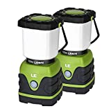 LE LED Camping Lantern, Battery Powered LED with 1000LM, 4 Light Modes, Waterproof, Perfect lantern flashlight for Hurricane Emergency, Hiking, Home and More, Pack of 2