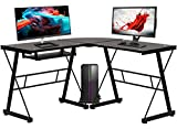 Computer Desk Gaming Desk Home Office Toughened Glass L Shaped Corner Writing Study Keyboard CPU Stand Girl Kids Student PC Modern Executive Table for Small Spaces