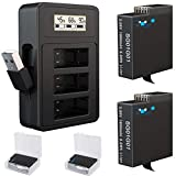 TOMSHEIR Hero 8/7/6/5 1800mAh Replacement Batteries (2-Pack) and USB Fast Charger Compatible with GoPro Hero 8 Black, Hero 7 Black, Hero 6 Black, Hero 5 Black, Hero(2018), AABAT-001, AJBAT-001