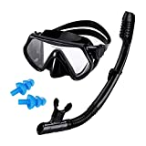 AQUA A DIVE SPORTS Scuba Diving Snorkeling Kit, Anti-Fog Snorkel Mask with Single Tempered Lens, Dry Snorkel and Protection Ear Plug Snorkeling Set for Adult (M161+SN115-1)