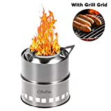 Ohuhu Camping Stove Stainless Steel Backpacking Stove Potable Wood Burning Stoves for Picnic BBQ Camp Hiking with Grill Grid