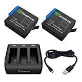 Smatree 2 Pack Rechargeable Battery with 3-Channel Charger Compatible for GoPro Hero 8/7/6 Black and Hero 5 Black Firmware V2.70 (Fully Compatible)