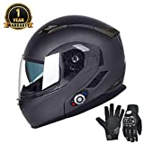 FreedConn Bluetooth Motorcycle Helmets Speakers Integrated Modular Flip up Dual Visors Full Face Built-in Bluetooth Mp3 Intercom headset Communication Range 500M (M,Gray)