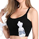 Lupantte Hands Free Pumping Bra, X Structure Breast Pump Nursing Bra for Breastfeeding Moms, Comfortable, Adjustable Fit Spectra, Lansinoh, Philips Avent, Bellababy, etc. (X-Large) Black